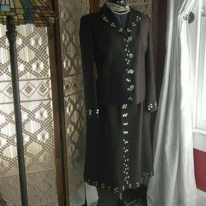 Chocolate silk jacket and skirt set